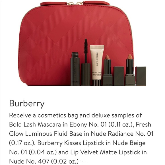 77f62a741c3 Burberry Makeup | Travel Set In A Red Cosmetic Bag | Poshmark
